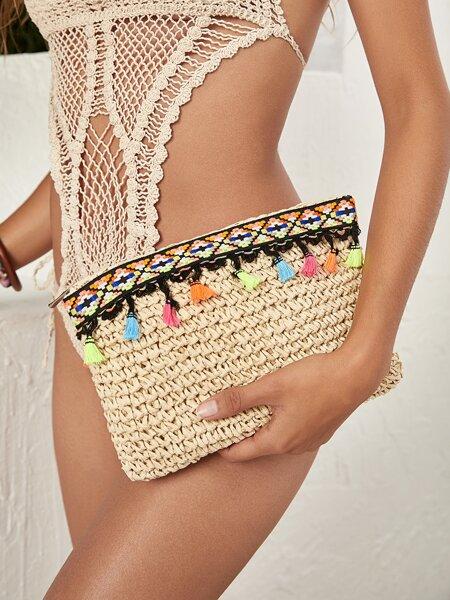 Tassel Decor Woven Clutch Bag