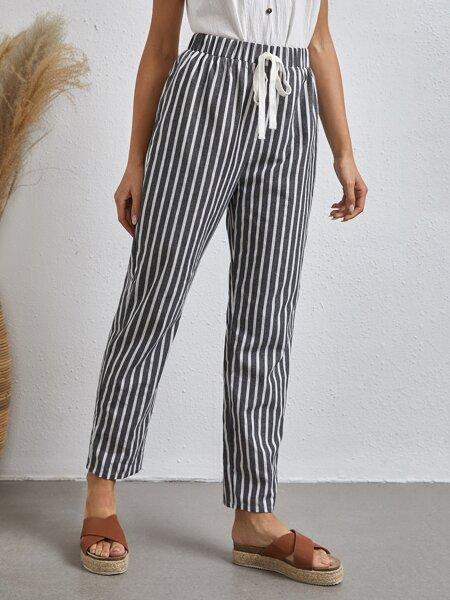 Knot Waist Striped Pants