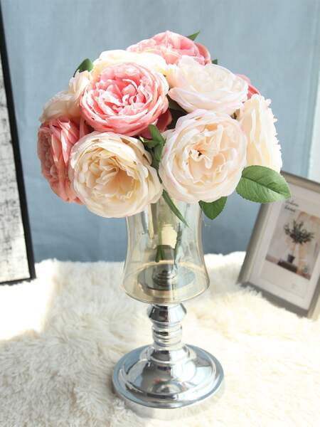 1bunch Artificial Rose With 5pcs Head