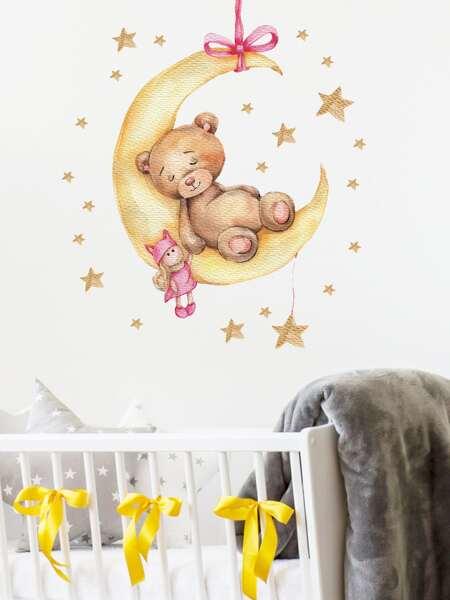 Kids Cartoon Bear Print Wall Sticker