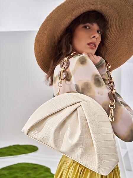 Croc Embossed Ruched Shoulder Bag