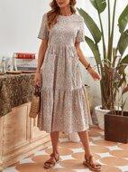 Ditsy Floral Print Dual Pocket Ruffle Hem Smock Dress