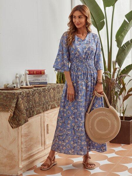 Allover Print Shirred Waist Maxi Dress