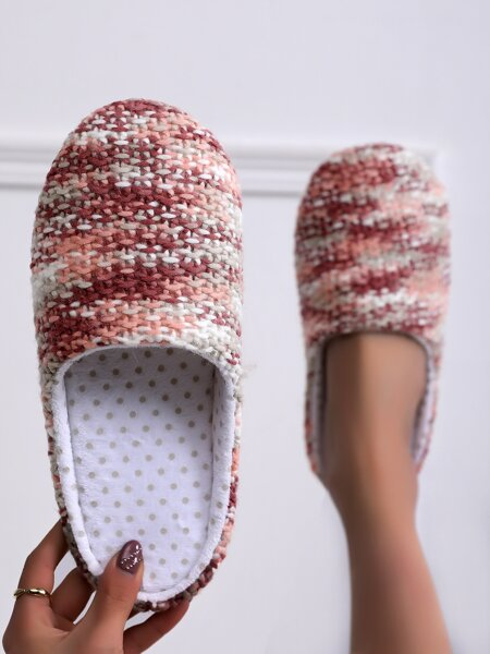 Round Toe Knit Slippers