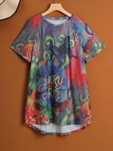 Plus Butterfly & Letter Graphic Dip Hem Tee