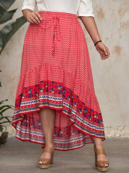 Plus Floral Print High Low Skirt