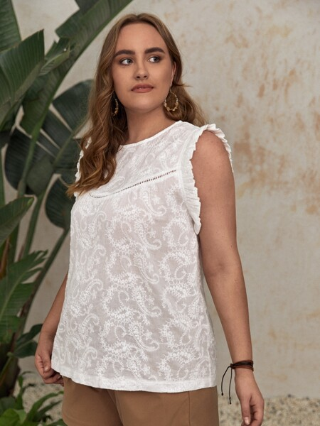 Plus Paisley Embroidered Frill Trim Tank Top