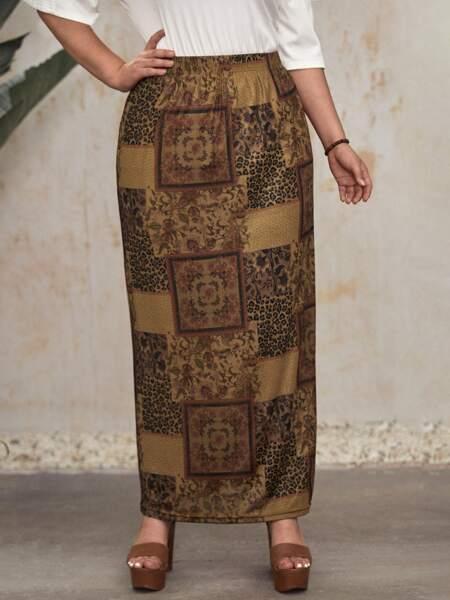 Plus Patchwork Print Straight Skirt