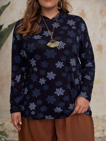 Plus Snowflake Print Hooded Sweatshirt