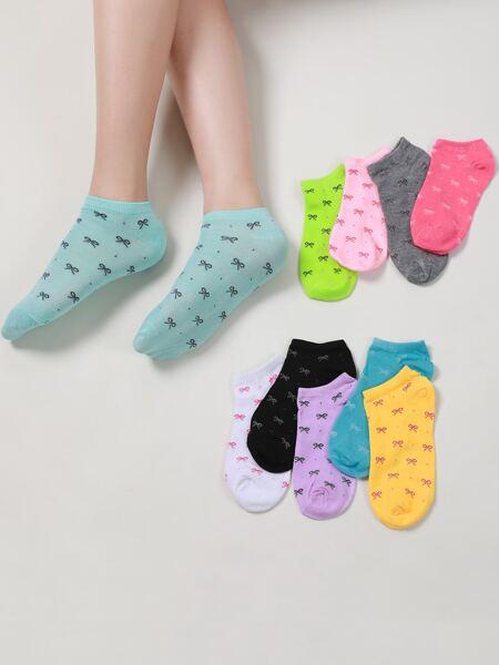 10pairs Bow Knot Pattern Socks