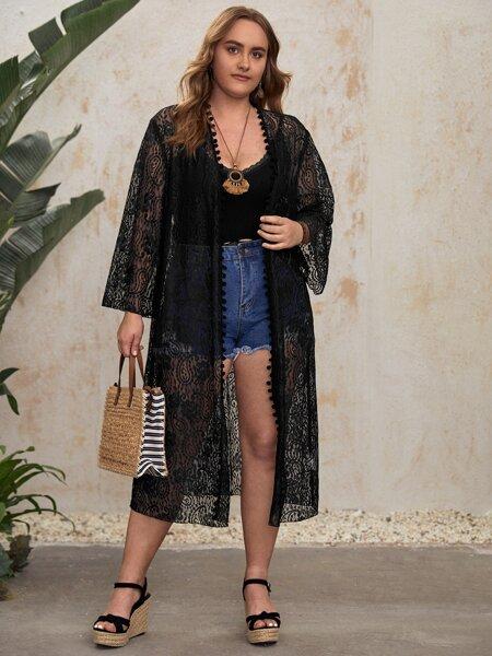 Plus Pompom Trim Lace Kimono
