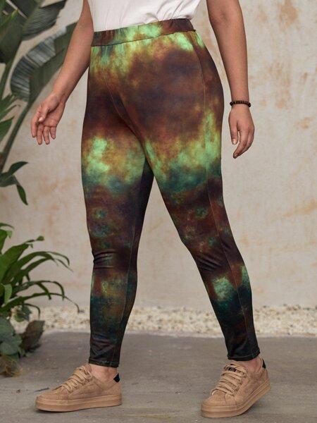 Plus Tie Dye High Waist Leggings