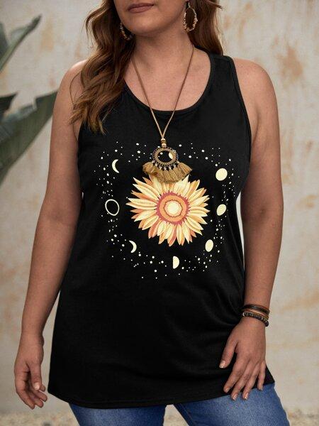 Plus Sunflower Print Tank Top