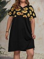 Plus Sunflower Print V-neck Dress