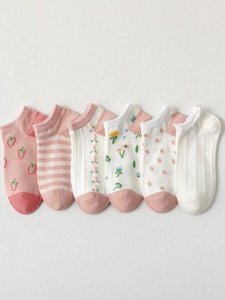 6pairs Fruit Print Ankle Socks