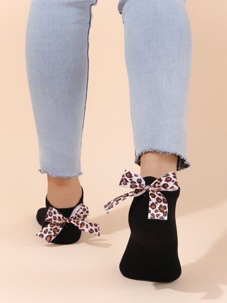 Leopard Bow Decor Ankle Socks