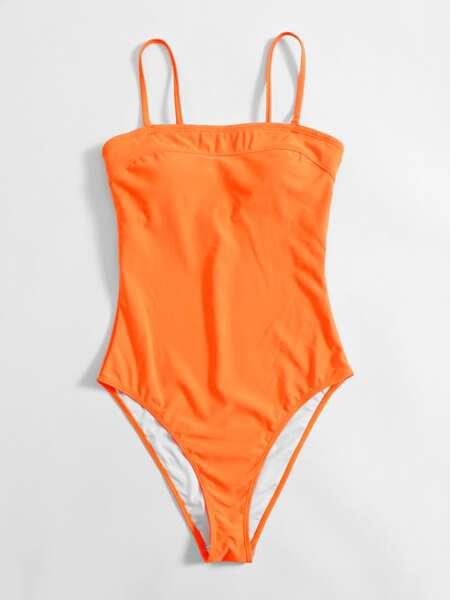 Neon Orange One Piece Swimsuit