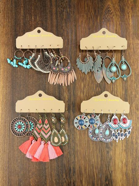 12pairs Vintage Drop Earrings
