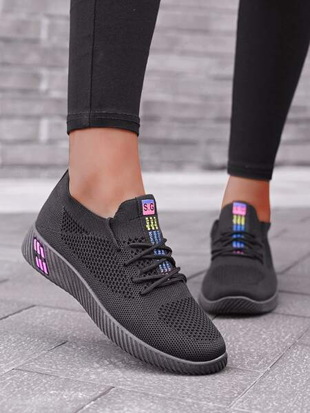 Letter Patch Lace-up Front Sneakers