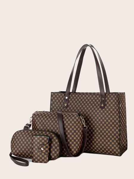 4pcs Geometric Print Tote Bag Set