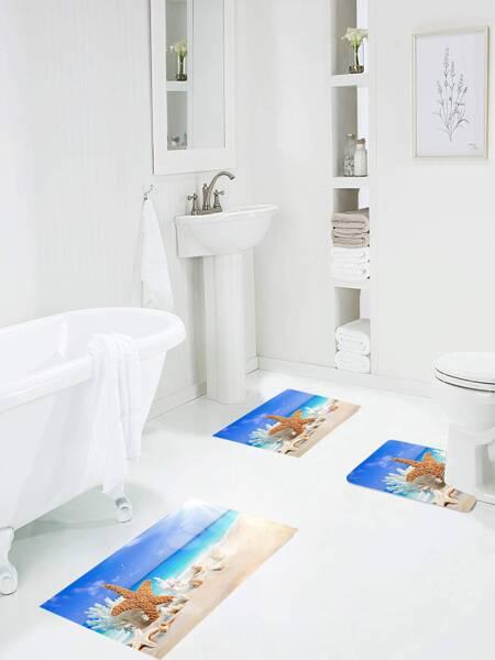 1pc Beach Print Bath Mat