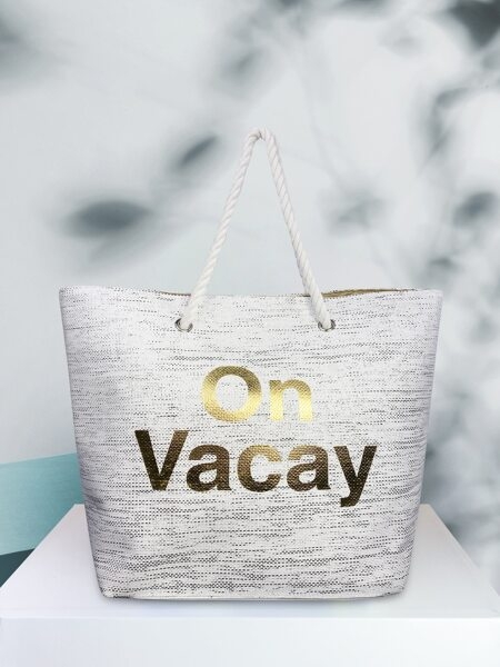 Letter Graphic Woven Tote Bag