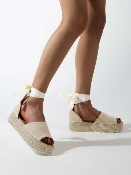 Tie Leg Suede Espadrille Flatform Shoes