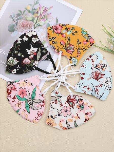 5pcs Ditsy Floral Pattern Face Mask