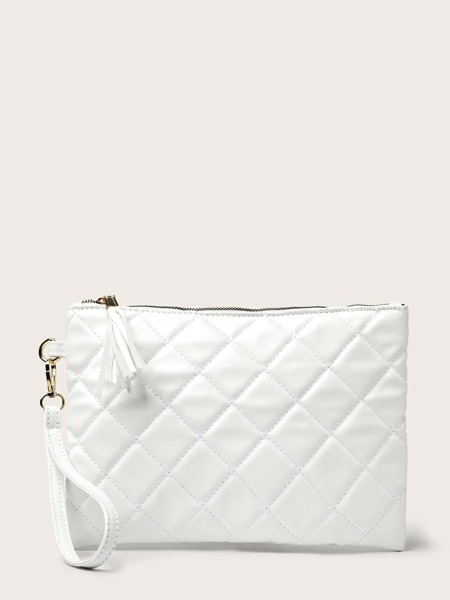 Tassel Decor Quilted Clutch Bag