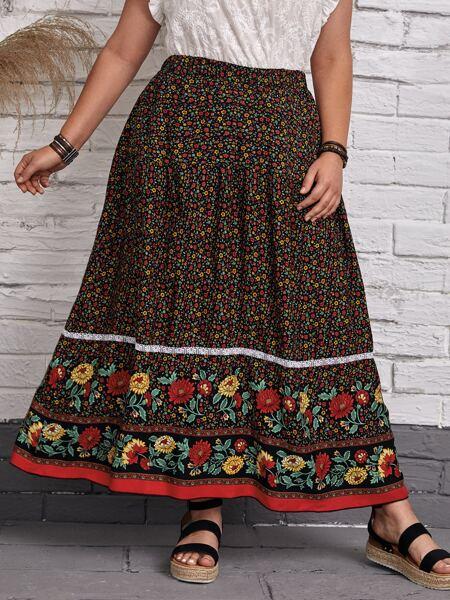 Plus Floral Print Lace Panel Skirt