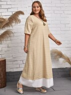 Plus Contrast Hem Tunic Dress