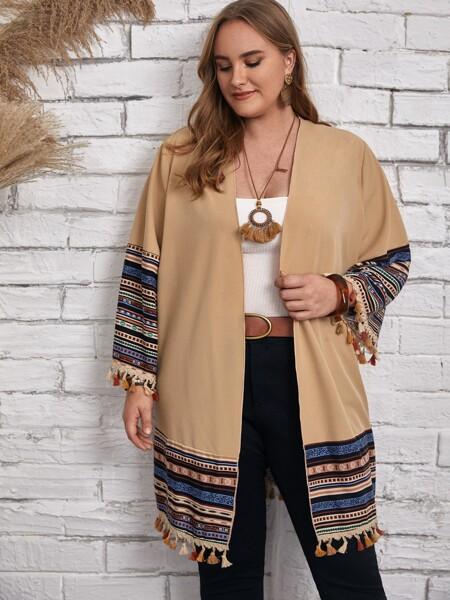 Plus Striped Fringe Trim Kimono