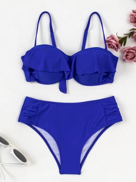 Ruffle Trim Underwire Bikini Swimsuit