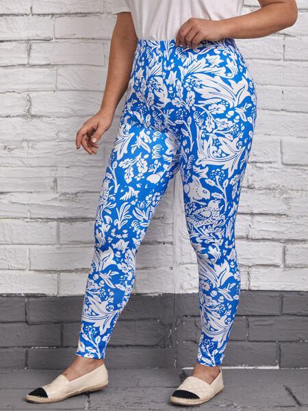 Plus Floral Print Elastic Waist Leggings