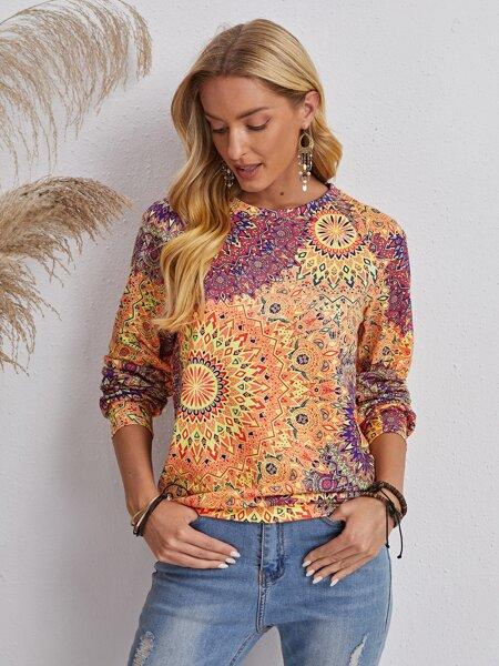 Floral And Geo Print Sweatshirt