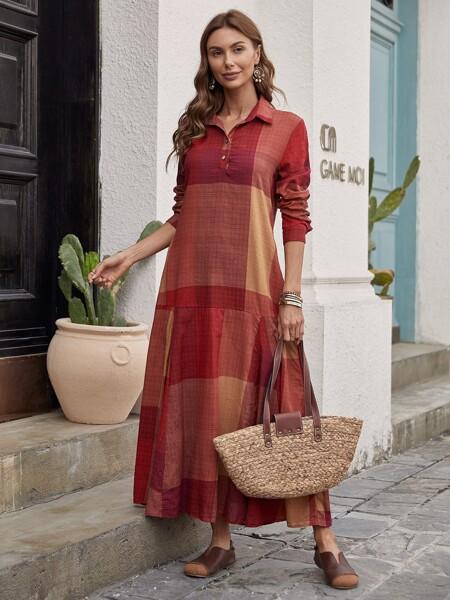 Patchwork Print Polo Neck Dress