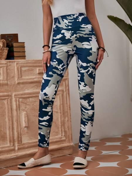Camo Print High Waist Leggings
