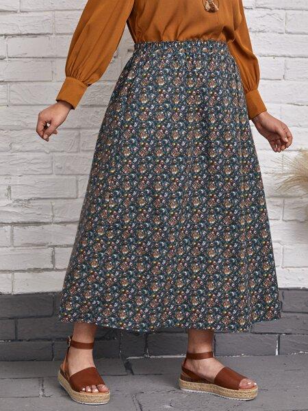 Plus Ditsy Floral Print Skirt