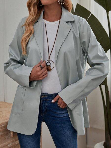 Lapel Collar Open Front Coat
