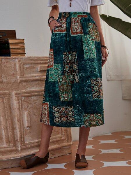 Patchwork Pocket Side A-line Skirt