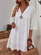 Eyelet Embroidery V-neck Smock Dress