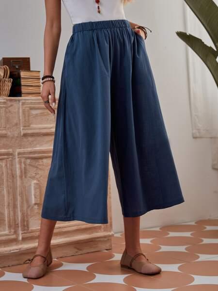 Slant Pocket Capris Wide Leg Pants