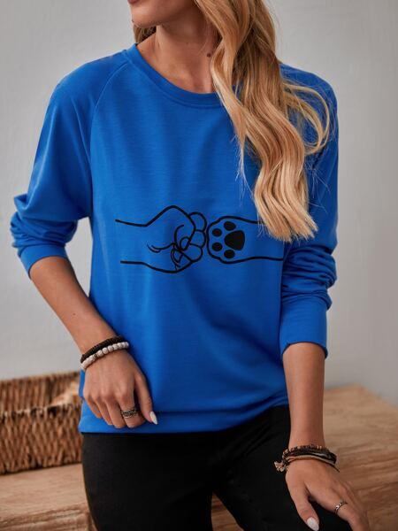 Raglan Sleeve Cartoon Graphic Sweatshirt