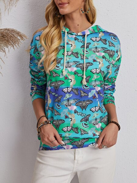 Allover Butterfly Print Drawstring Hoodie
