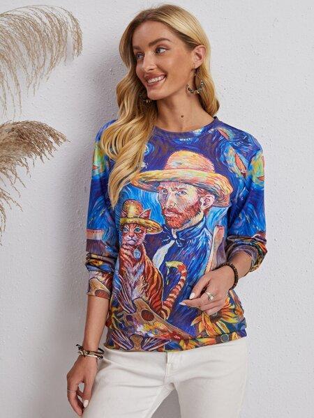 Figure And Cat Print Raglan Sleeve Sweatshirt