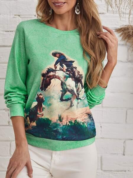 Figure And Horse Print Raglan Sleeve Sweatshirt