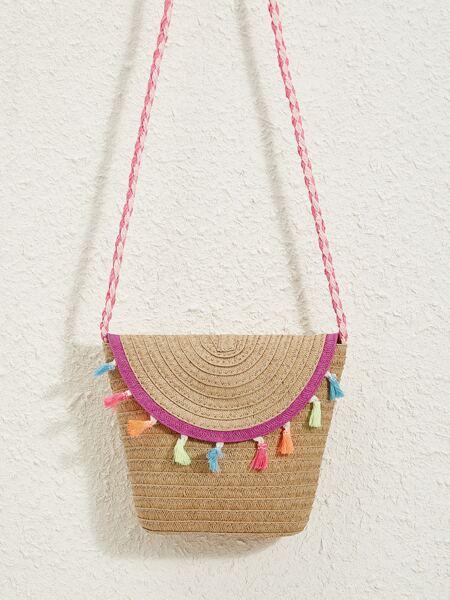 Tassel Decor Flap Straw Bag