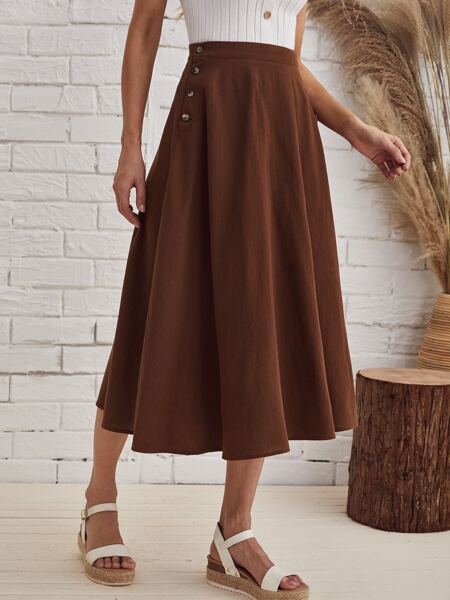 Buttoned Side Flared Skirt