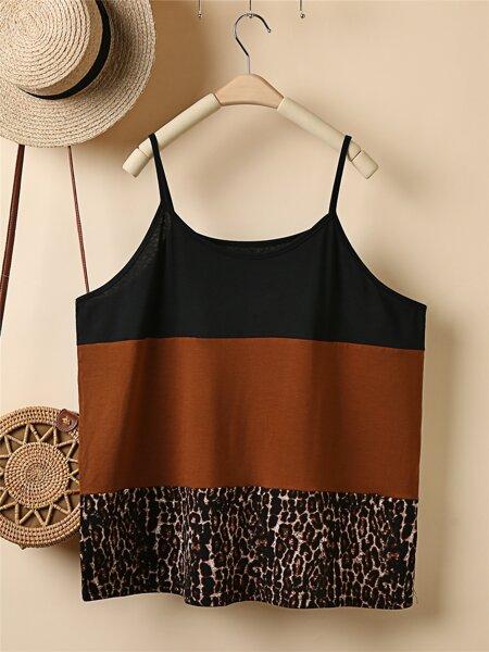 Plus Contrast Leopard Panel Cami Top