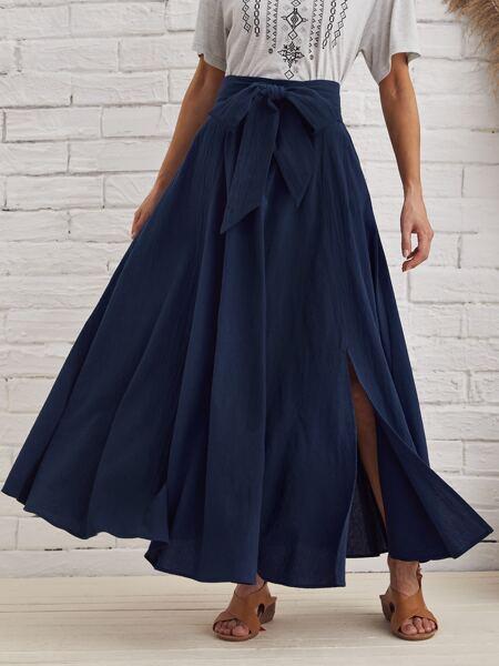Split Hem Belted Maxi Skirt